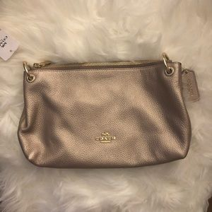 Gold leather genuine Coach bag